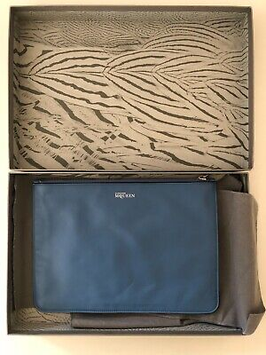 AU245 • Buy Alexander McQueen Large Leather Zipped Clutch Blue Made In Italy