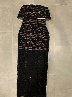 AU135 • Buy Carla Zampatti BRAND NEW 6 Maxi Sheer Embroidered Dress Black