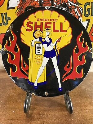 $ CDN21.11 • Buy 1957 ''shell'' Vintage Gas & Oil  Porcelain 12'' Round Sign. Shell Iconic Logo