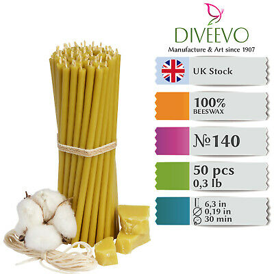 £10.02 • Buy 50x Pure 100% Beeswax Diveevo Taper Candles AMBER 6.3'' N140 Church Blessed, UK