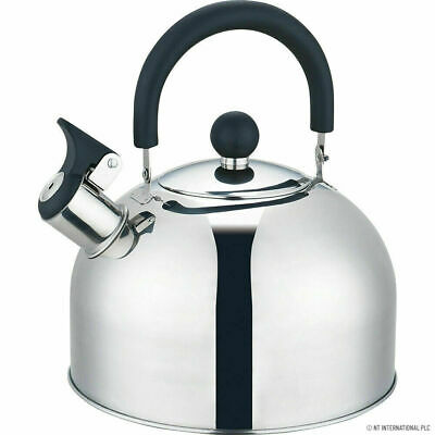 Whistling Kettle 2.5 Litre Stainless Steel Stove Top Induction Gas Boil Kitchen • 14.99£