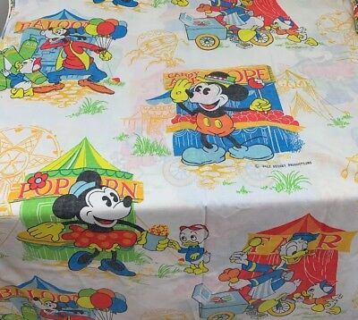 Vintage Disney Mickey Mouse At The Fair Carnival Twin Sheet Set & Curtains • 37.77£