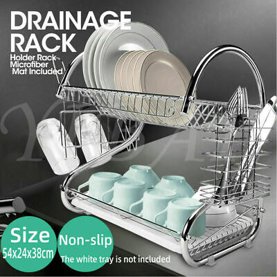 AU19.98 • Buy Kitchen Dish Drying Rack Plate Cup Drainer Tray Utensil Cutlery Holder 2 Layer G