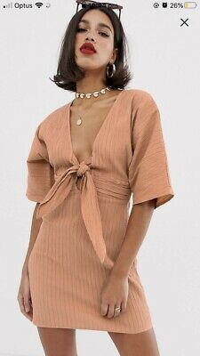 AU18 • Buy Womens Dress Size 16 New With Tags ASOS Pink Kimono Sleeves Front Tie Never Worn