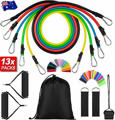 AU23.85 • Buy 16 PCS Resistance Band Set Yoga Pilates Abs Exercise Fitness Tube Workout Bands