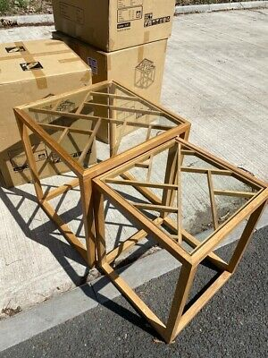 New Nest Of Tables In Oak Living Room Side Coffee Table Wooden Lattice Glass Top • 69£