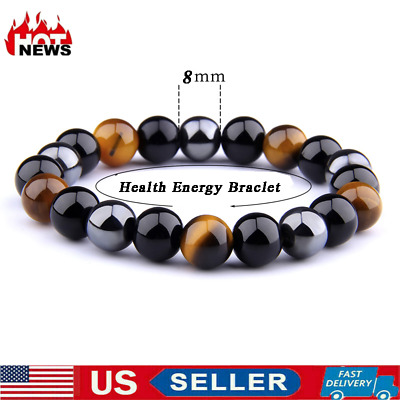 $5.28 • Buy Magnetic Therapy Bracelet  Men Women Health Care Magnetic Energy Tiger Eye Stone