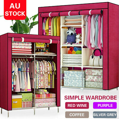 AU59.99 • Buy Large Portable Clothes Closet Canvas Wardrobe Storage Organizer Shelves 3 Sizes