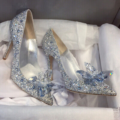 Silver Cinderella Wedding Party Diamond Pumps Crystal High Heels Shoes UK 2.5-6 • 13.99£