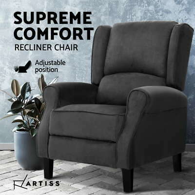 AU229.95 • Buy Artiss Recliner Chair Adjustable Sofa Lounge Soft Suede Armchair Couch Charcoal