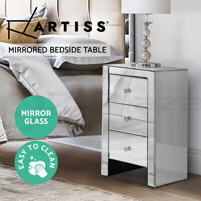 AU154.95 • Buy Artiss Mirrored Furniture Bedside Tables Table Chest Drawers Gloss Nightstand