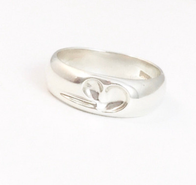 Rare! Beautiful Vintage  Tiffany & Co Elsa Peretti Carved Heart Ring H • 110.99£