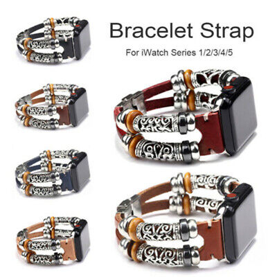 $ CDN6.56 • Buy Leather Watch Band Strap For Apple IWatch Series 5 4 3 2 1 38/42/40/44mm Retro