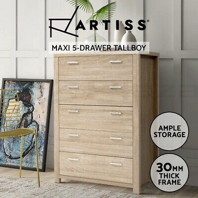 AU153.90 • Buy Artiss 5 Chest Of Drawers Tallboy Dresser Table Bedroom Storage Cabinet