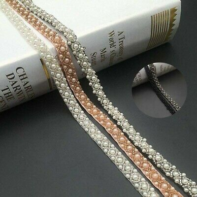 Wedding Trim Pearl Ribbon Decor Beads Accessories Lace Dress DIY Sewing • 2.22£