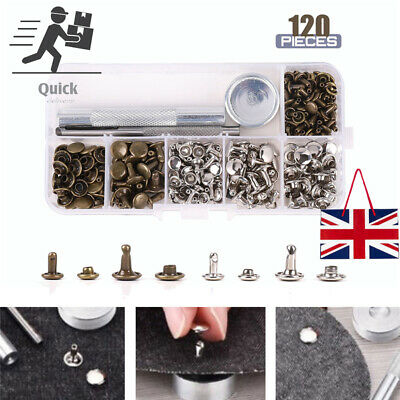 120 Leather Rivets Set Double Cap Rivets Metal Fixing Tool Kit For Leather Craft • 5.46£