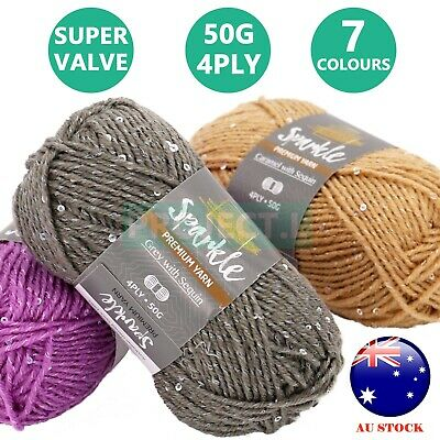 AU1.49 • Buy Sparkle Sequin Knitting Yarn 4Ply Super Soft Shimmer Crochet Craft Acrylic 50g
