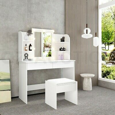 AU199.95 • Buy Dressing Table Stool Mirror Makeup Jewellery Cabinet Table Drawer W/Light Bulbs