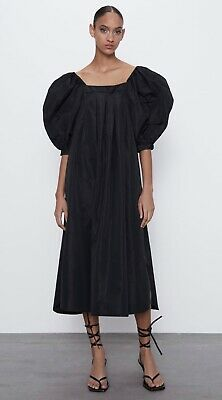 $40 • Buy Zara Voluminous Taffeta Dress Midi Straight Neck Balloon Sleeves Nwt