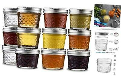 $33.68 • Buy Ball Mini Quilted Crystal Jelly Jars 4 Oz [12 Pack] Regular Mouth Mason Jars Wit