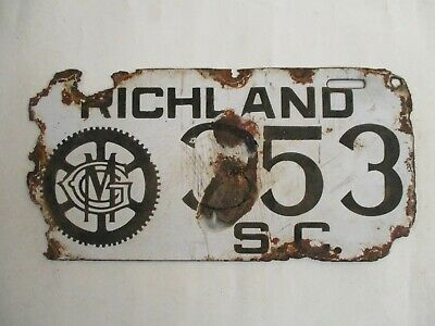 $ CDN967.35 • Buy 1916 Richland Co South Carolina GIBBES MACHINERY PORCELAIN License Plate Tag
