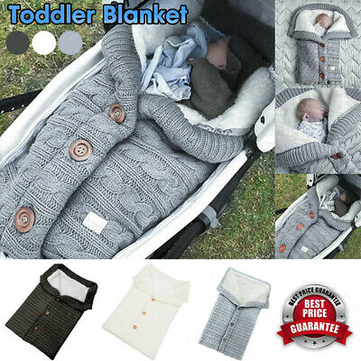 AU22.65 • Buy Winter Wrap Thick Sleeping Bags Baby Swaddle Blanket Warm Infant Stroller Knit
