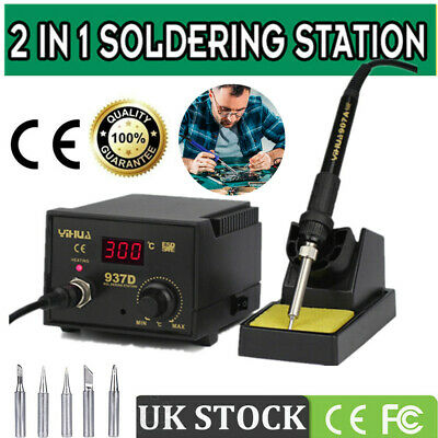 45W 937D Digital Soldering Iron Station SMD Welding Tool 6 Tips Stand Kit 230V • 25.99£