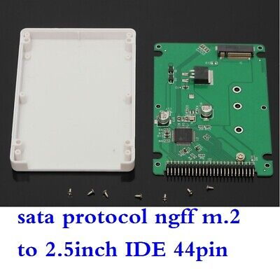 NGFF M.2 SATA Protocol SSD To 2.5 IDE 44pin Converter Adapter With Case White • 7.80£