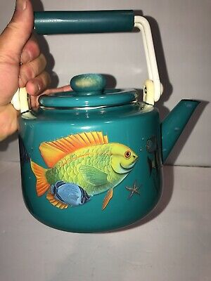 $5.99 • Buy Vintage Enamel Tea Pot.Turqouise With Tropical Fish. Sea Shore Lake Aquarium