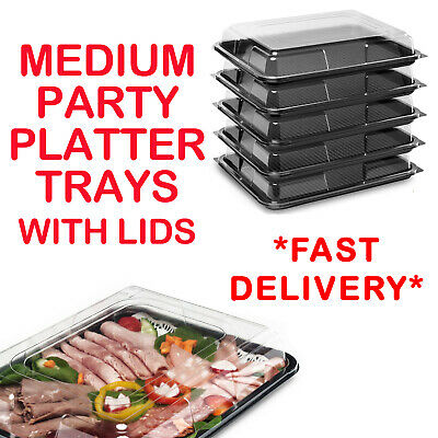 Medium Plastic Sandwich Trays Platters With Lids For Party Food Buffet Catering • 14.99£