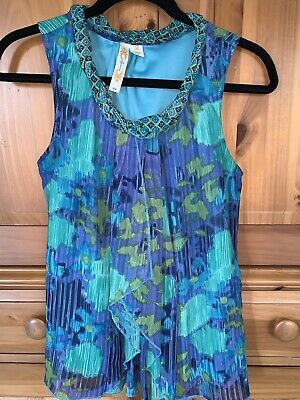 $ CDN1.35 • Buy ADIVA Anthropologie Sheer Lined Ruffle Braided Neck Summer Top Blouse Medium