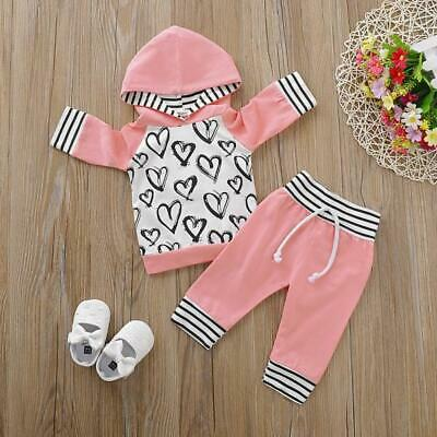 AU24.95 • Buy NEW Size 0-3 Months Girls Baby Clothes 2 PCE Heart Pink Hoodie And Pant Set