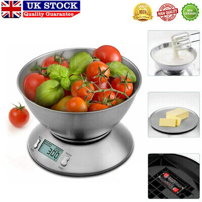 5KG Digital Kitchen Scales Electronic LCD Bowl Scale Cook Baking Food Weighing • 13.99£