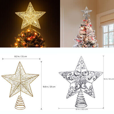 Christmas Tree Star Topper Ornament LED Light Star Christmas Party Decoration UK • 5.89£
