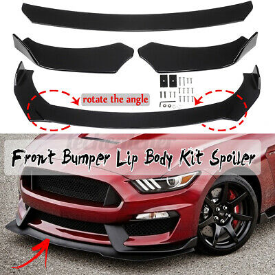 $55.99 • Buy 3x Glossy Black Front Bumper Lip Spoiler Chin Splitters For Ford Mustang Focus