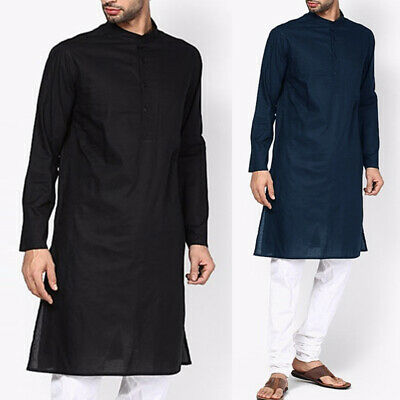 UK STOCK Men's Indian Long Sleeve Kurta Shirt Kurta Longline Tunic T Shirt Tops • 10.10£