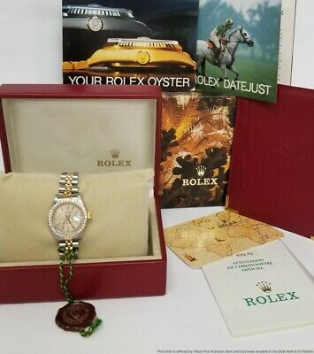 $ CDN1357.70 • Buy Ultra Clean 69173 Ladies Rolex Datejust 18k Gold Steel Watch Box Papers Tags