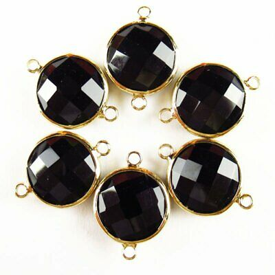 $ CDN24.15 • Buy 12Pcs Wrapped Faceted Black Agate Round Connector Pendant 14x6mm 19g A-39BBS