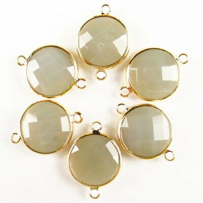 $ CDN24.15 • Buy 12Pcs Wrapped Faceted Gray Jade Round Connector Pendant 14x6mm 19g A-26BBS