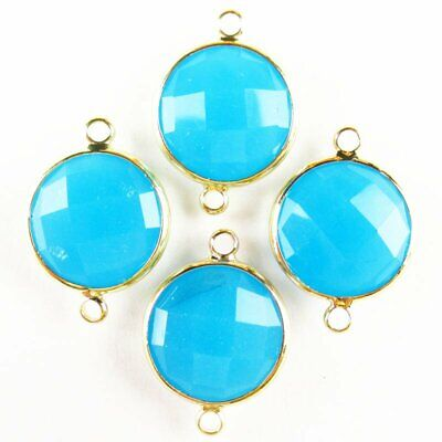 $ CDN24.15 • Buy 12Pcs Wrapped Faceted Blue Jade Round Connector Pendant 14x6mm 19g A-20BBS