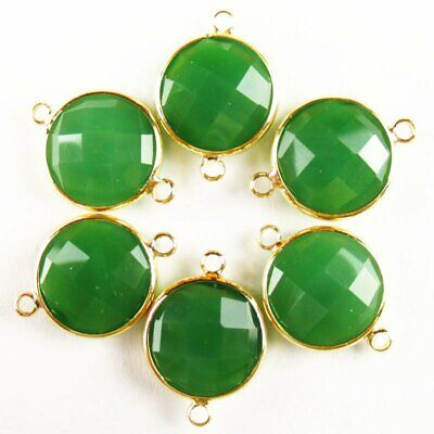 $ CDN24.15 • Buy 12Pcs Wrapped Faceted Green Jade Round Connector Pendant 14x6mm 19g A-41BBS