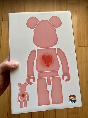 $550 • Buy Bearbrick X Emotionally Unavailable Red Heart 100% And 400% Unopened New In Box