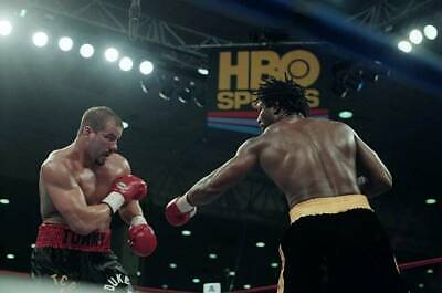 LARGE OLD BOXING PHOTO Lennox Lewis Throws A Punch V Tommy Morrison 1 • 4.69£