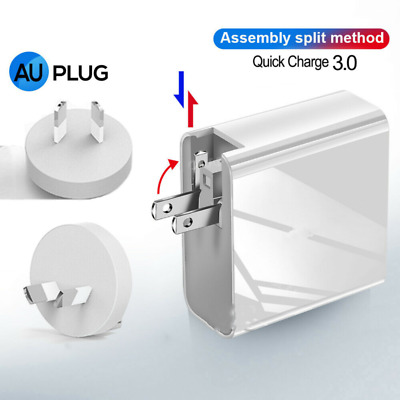 AU30.85 • Buy QC3.0 PD 51W Fast Charging Charger 3 USB QC3.0  + Type C Wall AU Plug Adapter