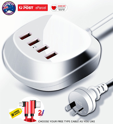 AU23.35 • Buy Fast Charging Charger 4 USB FAST CHARGE 3 PORT 2.4A /5V PORT ADAPTER +2.0A CABLE