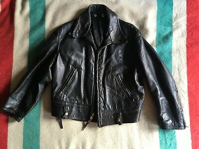 Very Rare Horsehide Highway Police Motorcycle Jacket 1950's Genuine Vintage M L • 785£