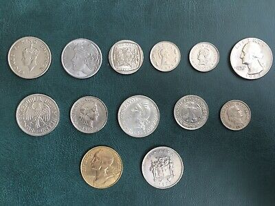 Collection Of 13 Foreign Coins Inc. India, USA, S.Africa, Brazil, Germany, Etc. • 2.50£