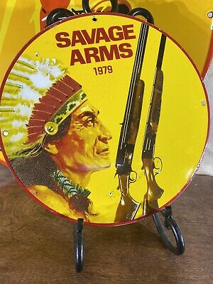 $ CDN140.62 • Buy 1979 Vintage ''savage Arms'' Gas & Oil Pump Plate 12 Inches  Porcelain Sign