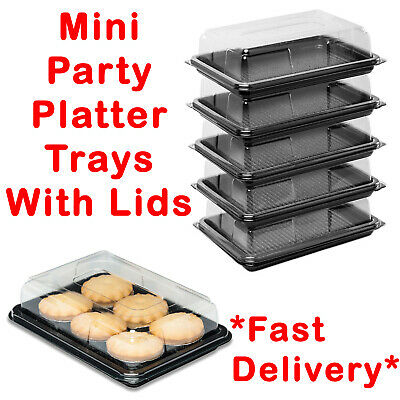 Plastic Mini Sandwich Trays Platters With Lids For Party Food Buffet Catering • 12.99£