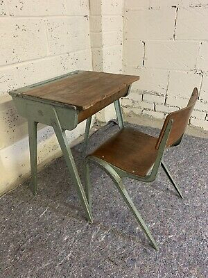 Vintage Aluminium Esavian School Desk With Bent Ply Chair • 77£